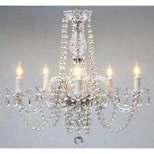 Swag Plug In New Authentic All Crystal Chandelier Lighting H25 x W24 NEW