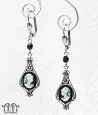 Gothic Antique Silver WHITE BLACK CAMEO EARRINGS Victorian Style Dangle Drop E36
