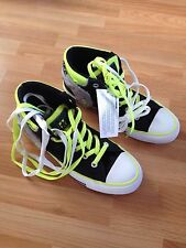 BNIB Teenage Boys/Mens Black/Yellow Converse High Tops-Size 6, RRP £65 FREE P&P