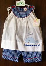 NWT ZU By Petit Ami 2T Nautical Whale Applique Girls Tank and Pants Outfit