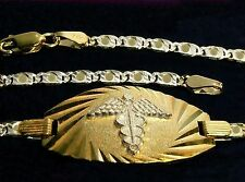 LUXURY MEDIC MEDICAL REAL WHITE AND YELLOW REFINED GOLD BRACELET ALERT