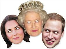 Royal Family Variety Three 3 Pack Fun CARD Party Face Masks with The Queen