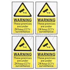 4X 24 Hour CCTV Security Surveillance Stickers Camera Window Warning Signs Decal