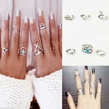 6Pcs Set Silver Ring Blue Turquoise Midi Bohemian Retro Stack Knuckle Rings