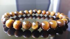 "Genuine Yellow TIGER EYE Bead Bracelet for Men (On Stretch) 8mm - 8"" inch AAA"