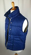 Vintage JcPenney Men's Large Blue Tan Puffer Vest Fall Winter Outdoor Camp Gear