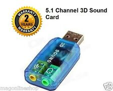 USB 5.1 Channel Sound Card, USB to Speaker & Mic Audio Adapter Adaptor Convertor