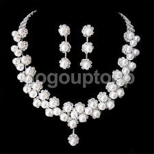 Silver Crystal Pearls Necklace Earring Wedding Bridal Bridesmaid Jewelry Set