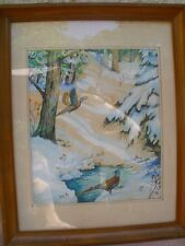 Original Pheasants Flying Water Color Painting Winter Time Scene Signed Framed