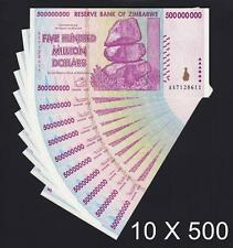 Zimbabwe 10 X 500 Million Dollars 2008 SERIES- AA Pick-82 UNCIRCULATED