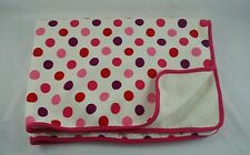 "The Childrens Place Pink White Purple Polka Dots Baby Blanket Fleece 30x40"" HTF"
