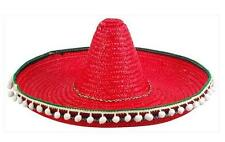 RED COLOR SOMBRERO HAT WITH TASSELS mexican party hats costume mexico supplies