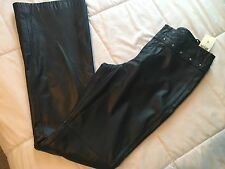 NWT Vintage Ralph Lauren size 2 BLACK LEATHER Studded PANTS women Viva Las Vegas