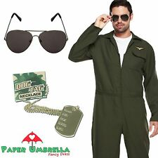 Mens AVIATOR Jumpsuit Fancy Dress + GLASSES + DOG TAG Uniform Pilot Costume Stag