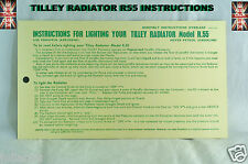 TILLEY LAMP R55 RADIATOR INSTRUCTIONS CARD LEAFLET TILLEY INSTRUCTIONS