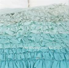 REDUCED Please read Green Teal Shabby Queen Ruffle Duvet Doona Quilt Cover Chic