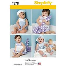 SIMPLICITY SEWING PATTERN BABIES SUNDRESS & PANTIES ROMPERS HAT SANDALS TOY 1378