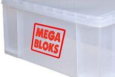 4x petit MEGA BLOKS logo autocollants en vinyle autocollants pour boîte de stockage boîtes & conteneur