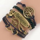 NEW Hot Infinity Love Anchor Leather Cute Charm Bracelet Bronze DIY SL168