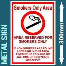 SMOKERS AREA ONLY METAL SIGN WEATHERPROOF FUNNY NOVELTY SAFETY WARNING DANGER