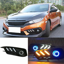White+Amber DRL+Blue Angle Eye LED Fog Lamp For Honda Civic 10th 2016 T