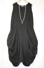 Moonshine ITALY  Ballonkleid Kleid Gr 44 46 48  Lagenlook Schwarz Taschen Neu
