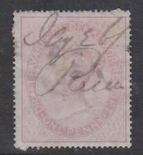 (T12-111) 1855 GB 1d violet QVIC IR thin on back (A)