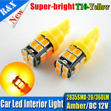 2X Amber LED Car Lights Bulbs T10 W5W 168 194 2835 20SMD Bulb 12V DC Auto Light