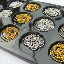 12 Gold silver 3d acrylic nail art caviar ball beads chain metallic decorations