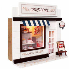 DIY Cake Love Store Wooden Dollhouse Wood Miniature Kit With Voice Control Light