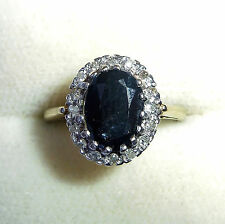 Large 9ct Gold Sapphire & Diamond Ring, Size M