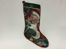 "Tapestry Christmas Stocking Needlepoint Santa Clause 19"" Completed Kyle"