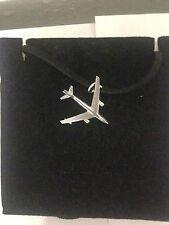 Boeing B-47 Stratojet C44 Aircraft Pewter Pendant on a BLACK CORD Necklace