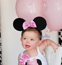 Halloween Xmas Baby Girls Pink White Polka Dots Bow Minnie Mouse Ears Headband
