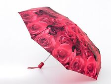Fulton Ladies Compact/Folding Auto Open & Close - 4 Umbrella Photo Roses Red