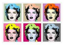 "BANKSY Kate Moss Warhol Style QUALITY *FRAMED* CANVAS ART 16""X 12"" Pop -"