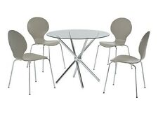 Casa Clear Glass Round Dining Table - Cross Chrome Legs - Contemporary