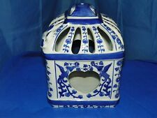 BLUE AND WHITE FLORAL HEART PORCELAIN BIRD HOUSE LANTERN CANDLE HOLDER