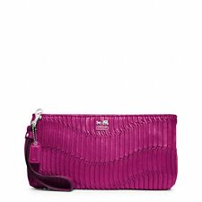 NWT Coach Madison Gathered Leather Zip Clutch Wristlet 46914 Silver / Magenta