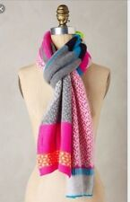 Anthropologie Eribe Zephyrine Colorful Color Block Geometric Wool Scarf