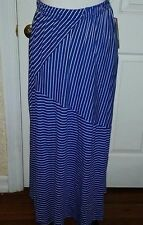 Plus Size 3X Lifestyle Woman Royal Blue White Stretch Knit Striped Maxi Skirt