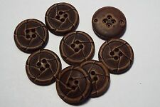 8pc 25mm Brown Mock Worn Leather Effect Coat Trouser Cardigan Kid Button 2740