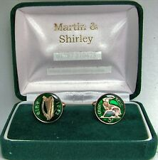 IRISH Cufflinks made from old IRELAND Threepence coins in GREEN & Gold