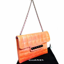 Auth Chanel Pink Chocolate Bar Patent Leather Pochette Mini Chain Hand bag Pouch