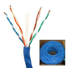 1000FT CAT6 RJ45 24AWG UTP Twist Pair Solid Network Ethernet LAN Cable - Blue