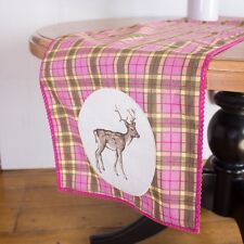 KATIE ALICE HIGHLAND FLING SHABBY CHIC TARTAN STAG DEER TABLE RUNNER LACE TRIM