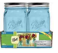 4 Ball Blue Mason Jars Quart 32 oz Wide Mouth Canning Jar w/ Lids Gift Wedding