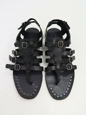 NEW Pedro Garcia Black Leather Galatea Gladiator Sandals Buckled & Studded 37