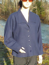 Simon Chang Size 8 Blazer Blue Short Waisted 5 Button Wool Blazer or Jacket