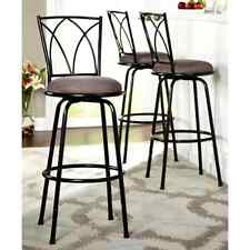 Black Bar Stools Set of 3 Patio Home Outdoor High Chair Barstools Counter Swivel